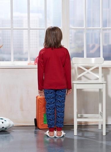 Sevim Baskılı Kız Çocuk Pijama Takım Bordo